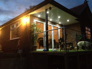 Large extension with balcony - LED downlights & external lanterns fitted.