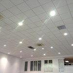 New recessed downlighing installed high level - Retail premises.