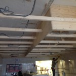 Commercial LED electrical installation 1st Fix in Mansfield. The cables installed ready for plastering.