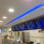 Commercial Electricians, LED upgrade in mansfield 2nd Fix. Job completed. LED downlights & effect lighting, along with LED TV Menu Boards.
