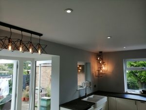 Decorative lighting installed during a kitchen upgrade.