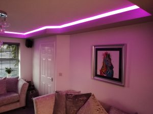 LED effect lighting around a living room